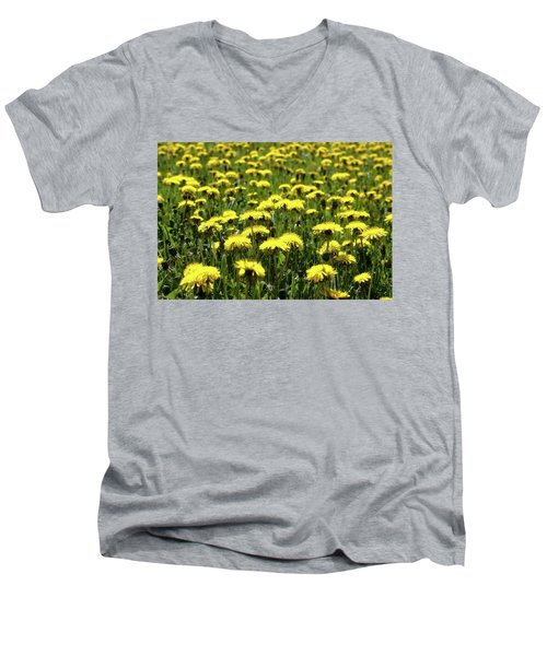 Yellow Field Two  Men's V-Neck T-Shirt by Lyle Crump