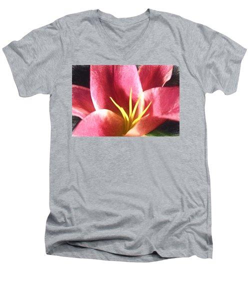 Yellow Fingers, Pink Blush Men's V-Neck T-Shirt