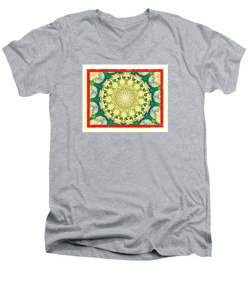 Men's V-Neck T-Shirt featuring the photograph Yellow Floral Medallion by Shirley Moravec