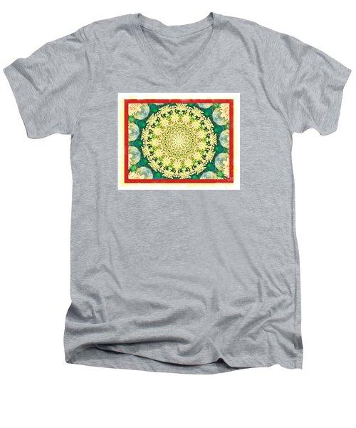 Yellow Floral Medallion Men's V-Neck T-Shirt by Shirley Moravec