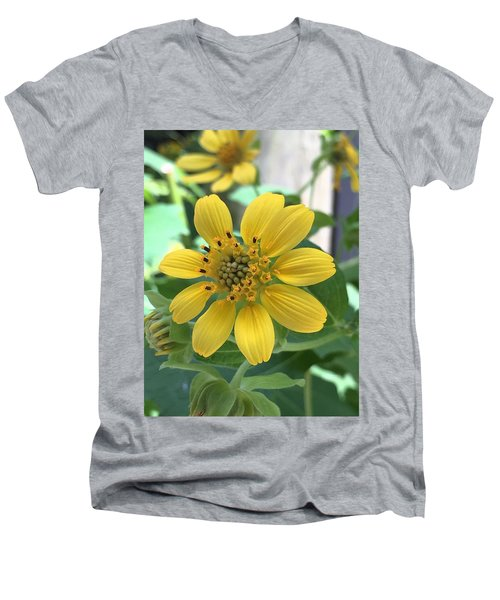 Yellow Flower Men's V-Neck T-Shirt by Kay Gilley
