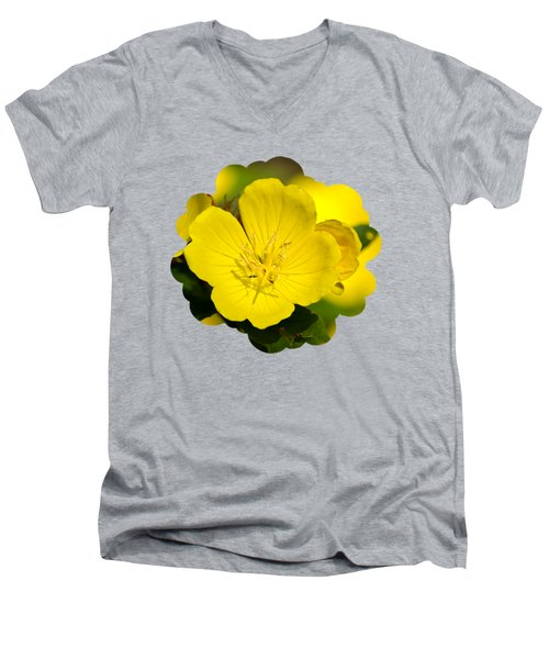 Yellow Flowers - Evening Primrose Men's V-Neck T-Shirt by Christina Rollo