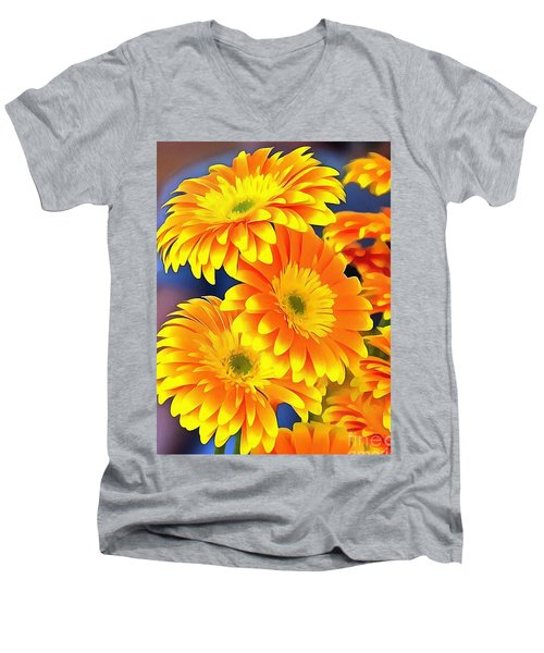 Yellow Flowers In Thick Paint Men's V-Neck T-Shirt