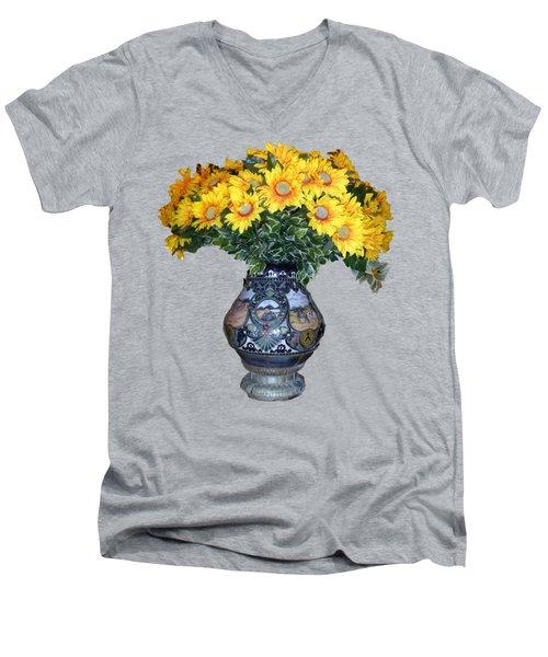 Yellow Flowers In Vase Men's V-Neck T-Shirt