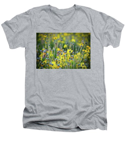 Yellow Flowers Men's V-Neck T-Shirt by Kelly Wade
