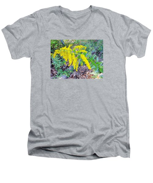 Yellow Flowers On Green Men's V-Neck T-Shirt