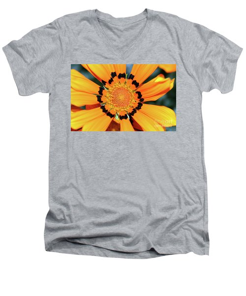 Men's V-Neck T-Shirt featuring the photograph Yellow Gazania By Kaye Menner by Kaye Menner