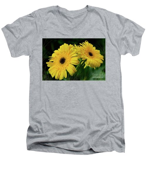 Men's V-Neck T-Shirt featuring the photograph Yellow Gerbera Daisies By Kaye Menner by Kaye Menner