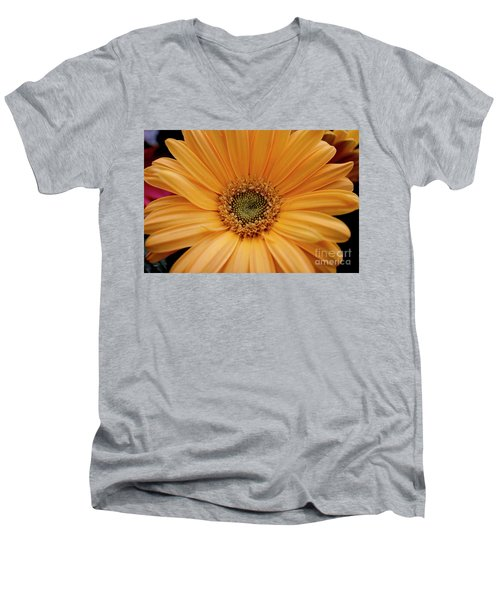 Yellow Gerbera Daisy Men's V-Neck T-Shirt by Ivete Basso Photography