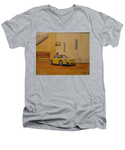 Yellow Gt3 Porsche Men's V-Neck T-Shirt