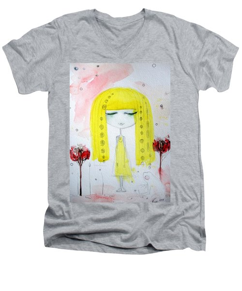 Yellow Hair Girl  Men's V-Neck T-Shirt