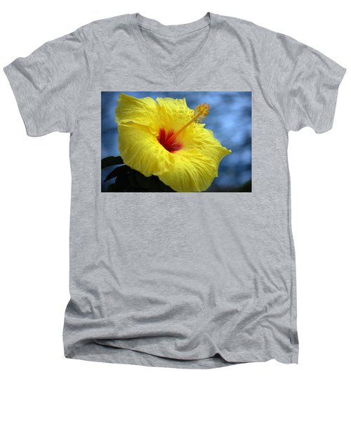 Men's V-Neck T-Shirt featuring the photograph Yellow Hibiscus by Debbie Karnes