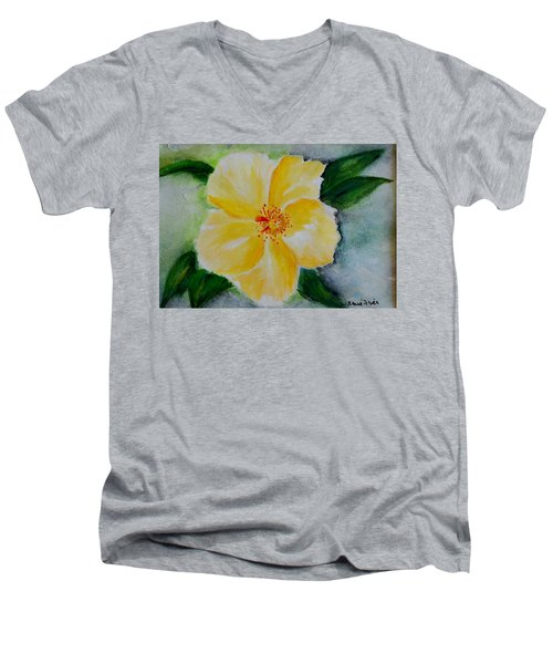 Yellow Hibiscus Men's V-Neck T-Shirt by Jamie Frier