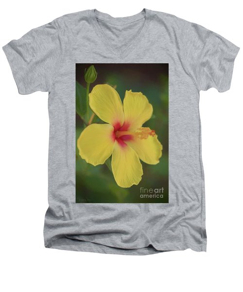 Yellow Hibiscus Profile Men's V-Neck T-Shirt