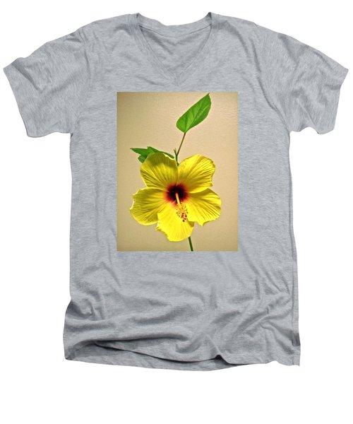 Yellow Hibiscus Men's V-Neck T-Shirt
