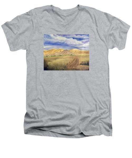 Men's V-Neck T-Shirt featuring the painting Yellow Hills Of Jensen by Sherril Porter
