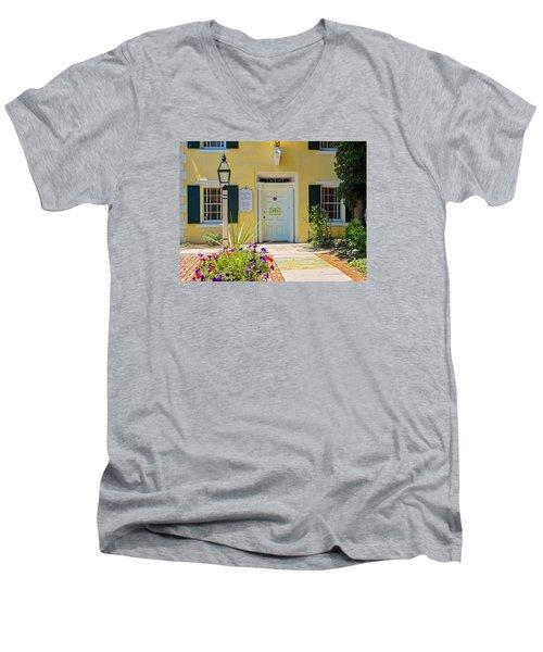 Yellow House In Kingston Men's V-Neck T-Shirt by Nancy De Flon