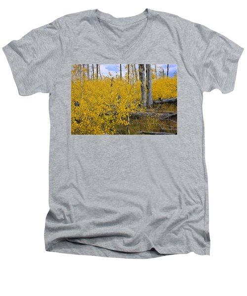 Yellow In Grand Teton Men's V-Neck T-Shirt