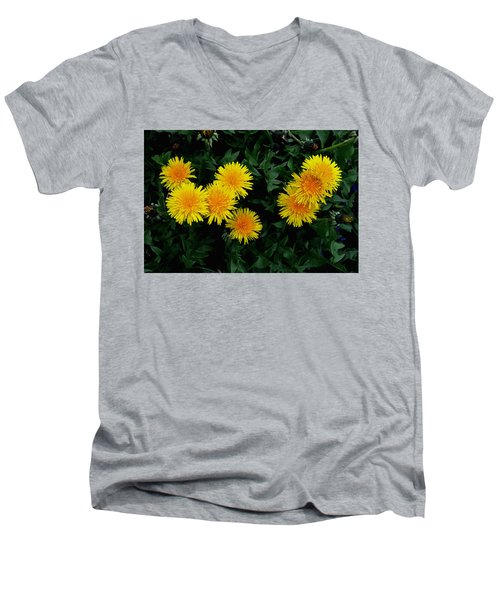 Men's V-Neck T-Shirt featuring the photograph Yellow In Green by Dorin Adrian Berbier