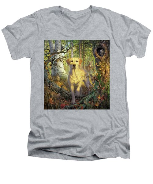 Yellow Lab In Fall Men's V-Neck T-Shirt