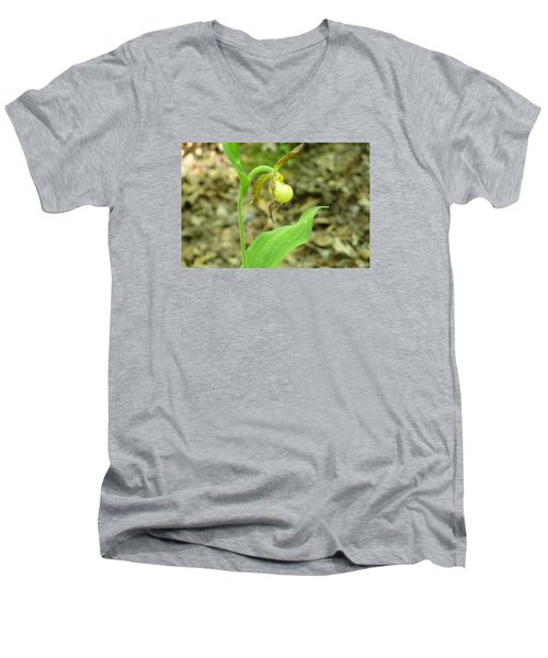 Men's V-Neck T-Shirt featuring the photograph Yellow Lady-slipper by Linda Geiger