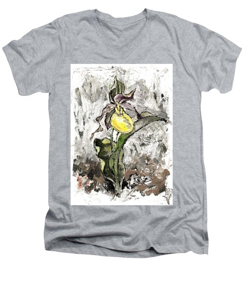 Yellow Lady's Slipper Men's V-Neck T-Shirt