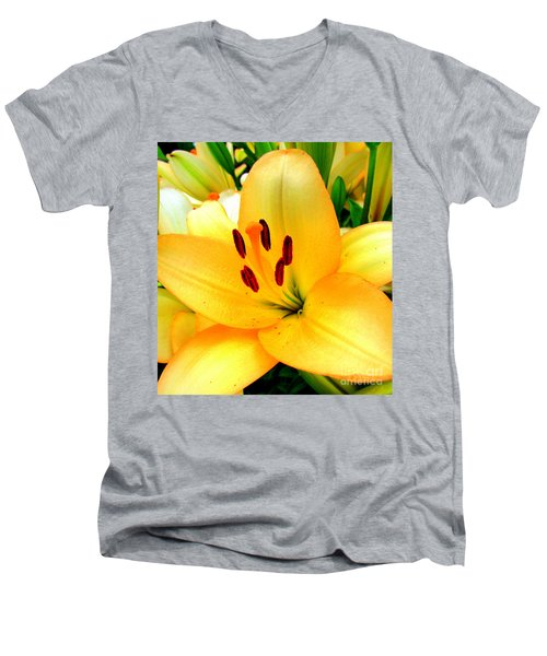Men's V-Neck T-Shirt featuring the photograph Yellow Lilies 1 by Randall Weidner