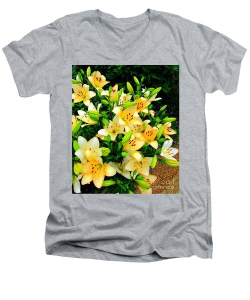 Men's V-Neck T-Shirt featuring the photograph Yellow Lilies 2 by Randall Weidner
