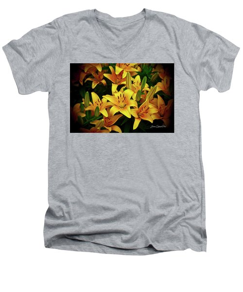 Men's V-Neck T-Shirt featuring the photograph Yellow Lilies by Joann Copeland-Paul