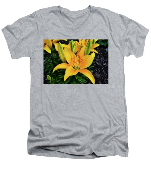 Men's V-Neck T-Shirt featuring the photograph Yellow Lily 008 by George Bostian