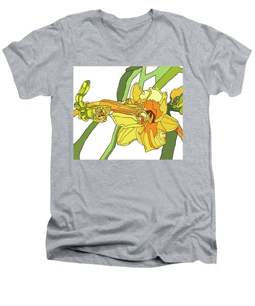 Yellow Lily And Bud, Graphic Men's V-Neck T-Shirt