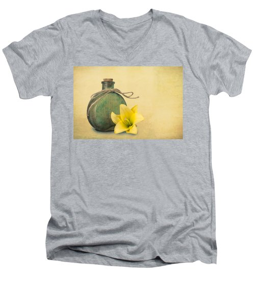 Men's V-Neck T-Shirt featuring the photograph Yellow Lily And Green Bottle II by Tom Mc Nemar