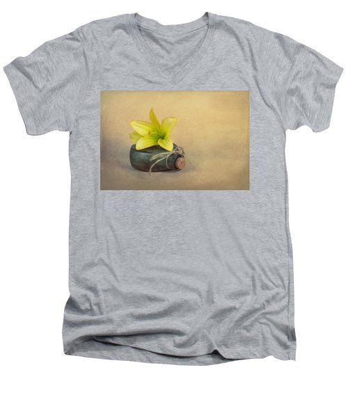 Men's V-Neck T-Shirt featuring the photograph Yellow Lily And Green Bottle by Tom Mc Nemar