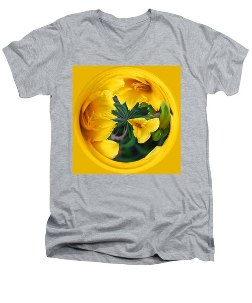Men's V-Neck T-Shirt featuring the photograph Yellow Lily Orb by Bill Barber