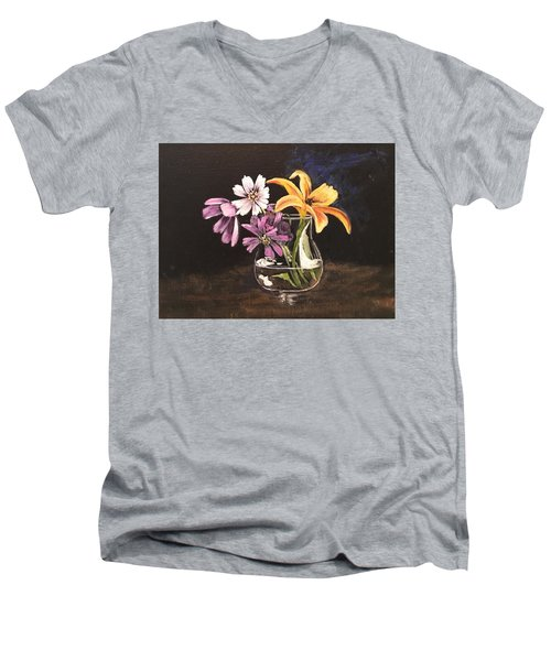 Yellow Lily Men's V-Neck T-Shirt by Sharon Schultz
