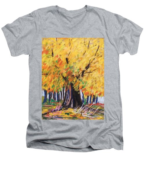 Men's V-Neck T-Shirt featuring the painting Yellow Maple Wet Trunk by John Williams