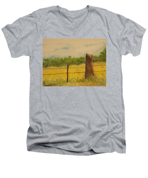 Men's V-Neck T-Shirt featuring the painting Yellow Meadow  by Vicki  Housel
