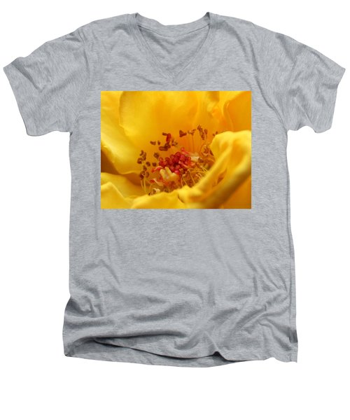 Yellow Mini Macro Men's V-Neck T-Shirt by Marna Edwards Flavell