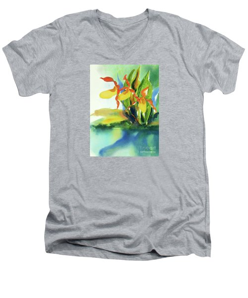Men's V-Neck T-Shirt featuring the painting Yellow Moccasin Flowers by Kathy Braud