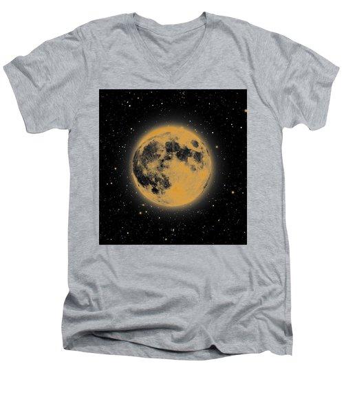 Yellow Moon Men's V-Neck T-Shirt by Thomas M Pikolin