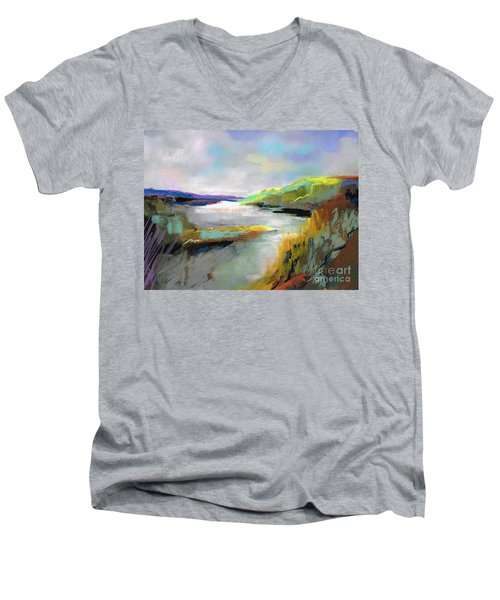 Men's V-Neck T-Shirt featuring the painting Yellow Mountain by Frances Marino