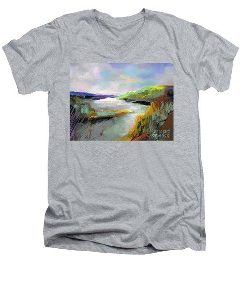 Yellow Mountain Men's V-Neck T-Shirt by Frances Marino