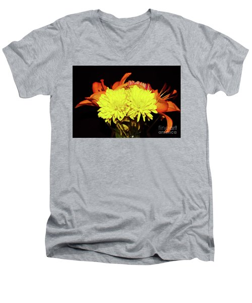 Yellow Mums And Orange Lilies  Men's V-Neck T-Shirt