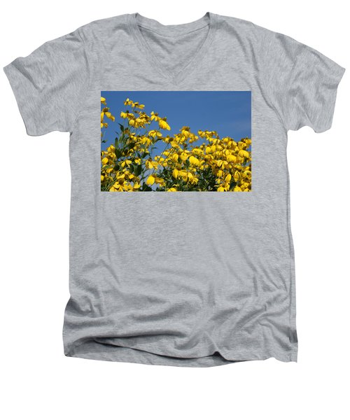 Yellow On Blue Men's V-Neck T-Shirt by Lois Lepisto