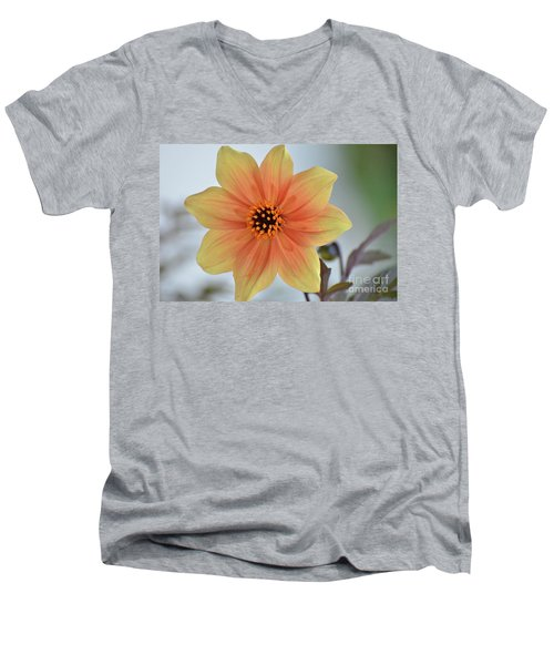 Yellow Orange Dahlia Perfection Men's V-Neck T-Shirt