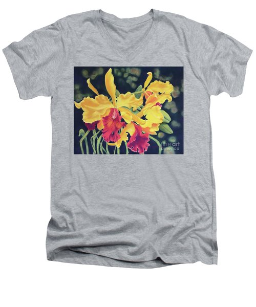 Yellow Orchids Men's V-Neck T-Shirt