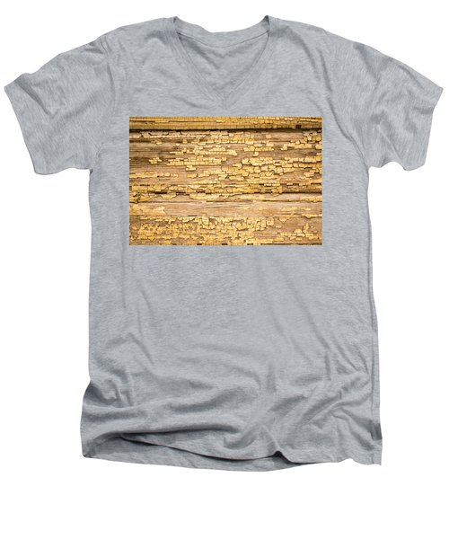 Men's V-Neck T-Shirt featuring the photograph Yellow Painted Aged Wood by John Williams