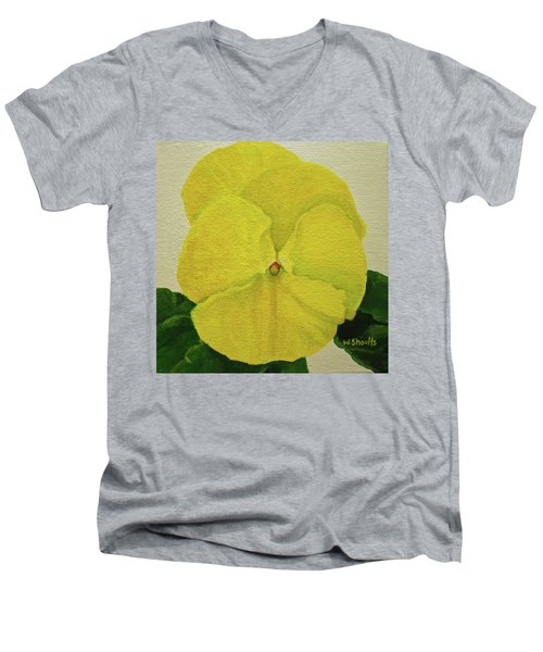 Men's V-Neck T-Shirt featuring the painting Yellow Pansy by Wendy Shoults