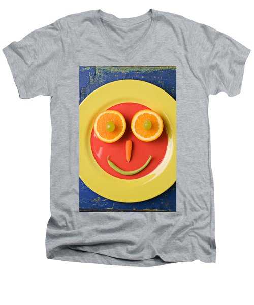 Yellow Plate With Food Face Men's V-Neck T-Shirt by Garry Gay