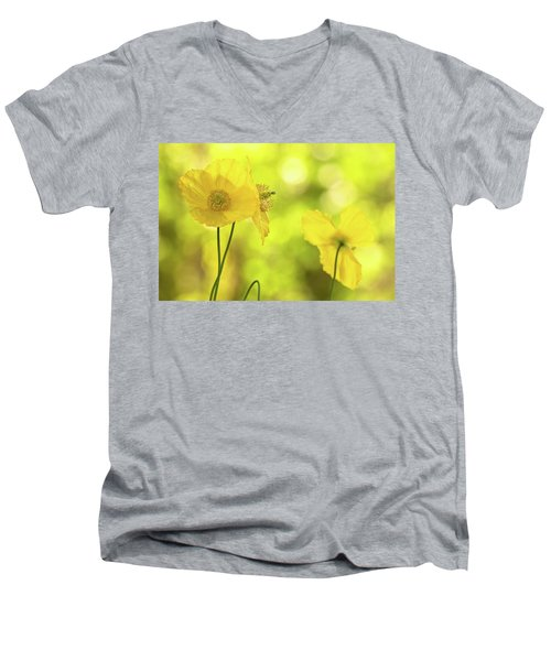 Men's V-Neck T-Shirt featuring the photograph Yellow Poppies - California Poppy Flower by Peggy Collins